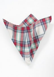 Cream Color Pocket Square with Red and Green Plaids