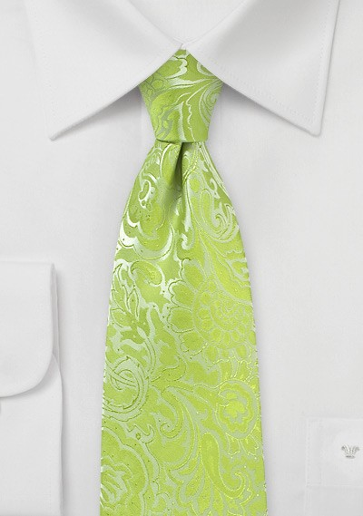 Lime Color Necktie with Paisley Print