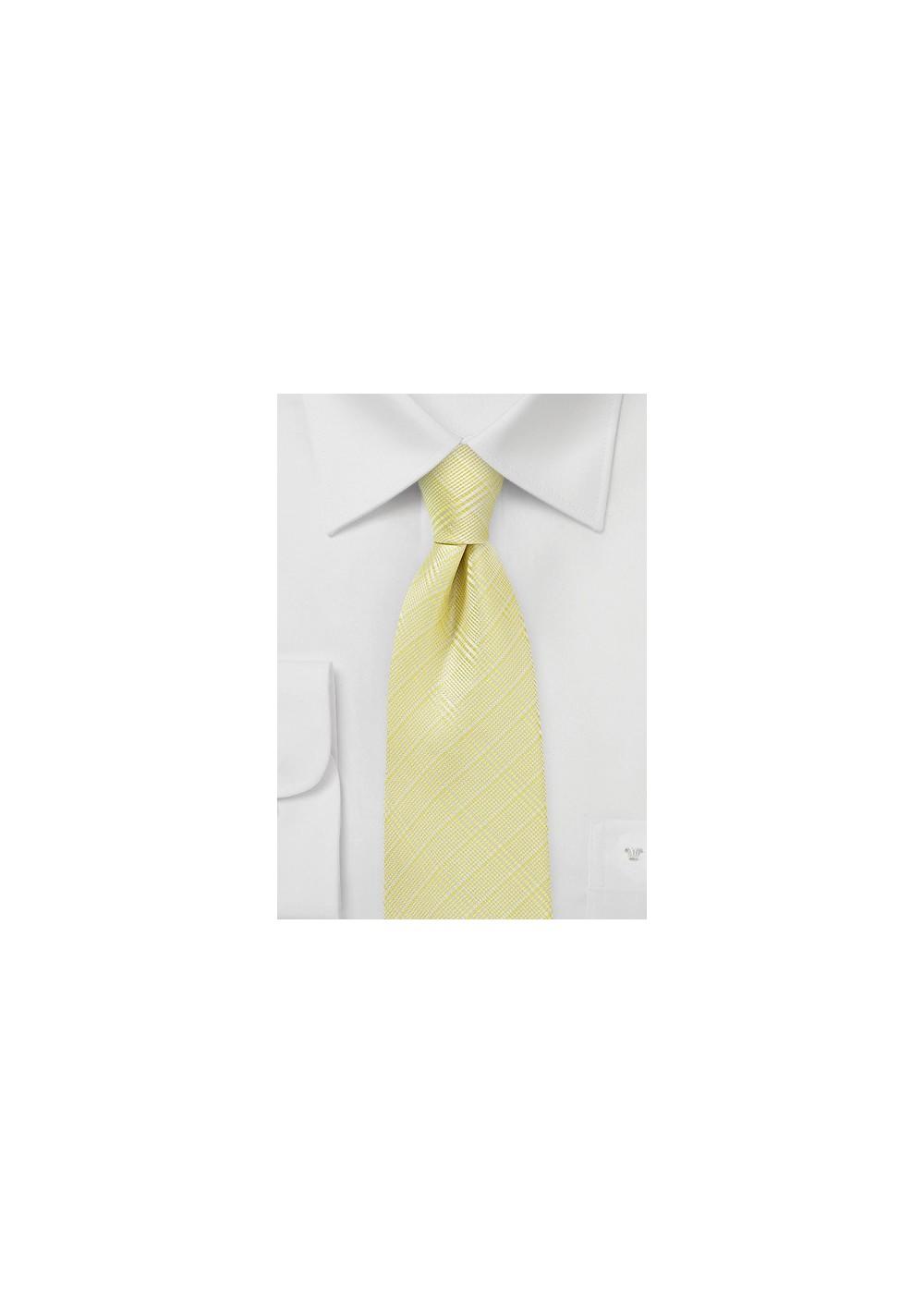 Banana Yellow Plaid Tie
