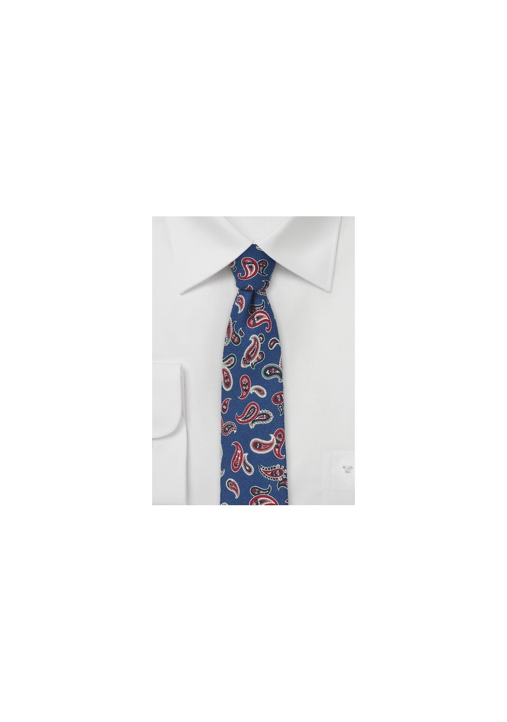 Royal Blue Wool Tie with Red Paisley Print
