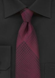 Trendy Plaid Designer Tie in Black and Rosewood