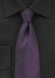 Black Tie with Prune Purple Plaid