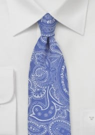 Cotton Paisley Floral Tie in Summer Blue