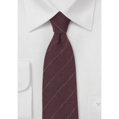 Wool Pencil Stripe Tie in Port Red