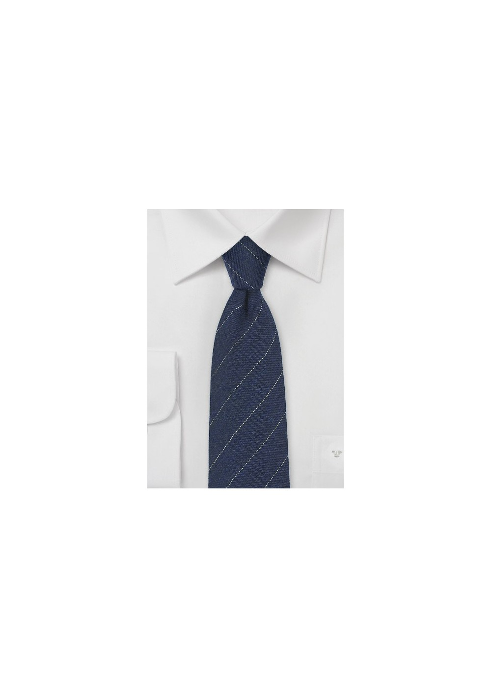 Wool Striped Tie in Navy Blue
