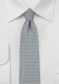 Geometric Print Skinny Tie in Light Blue and Gray