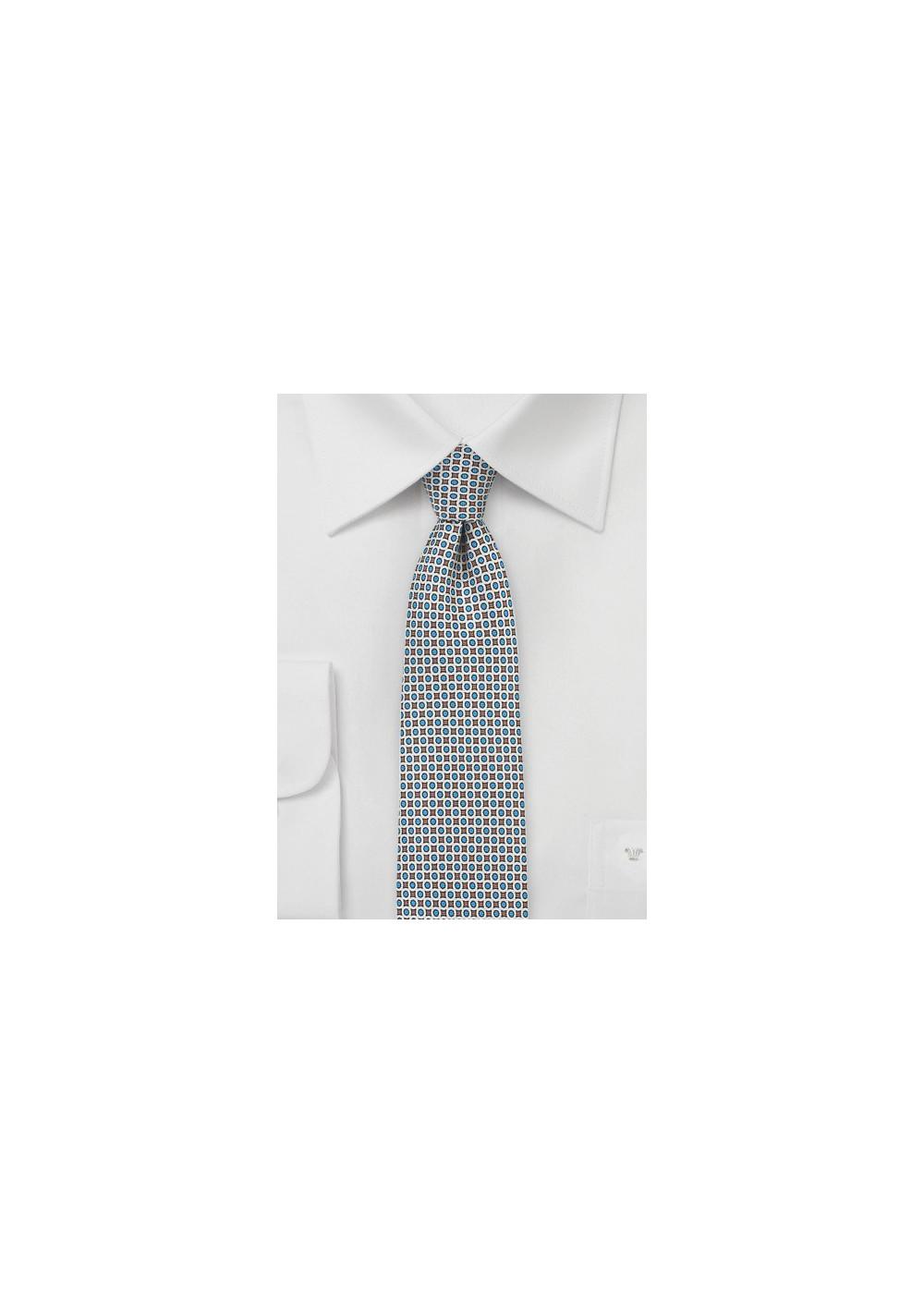 Geometric Print Skinny Tie in Light Blue and Gray