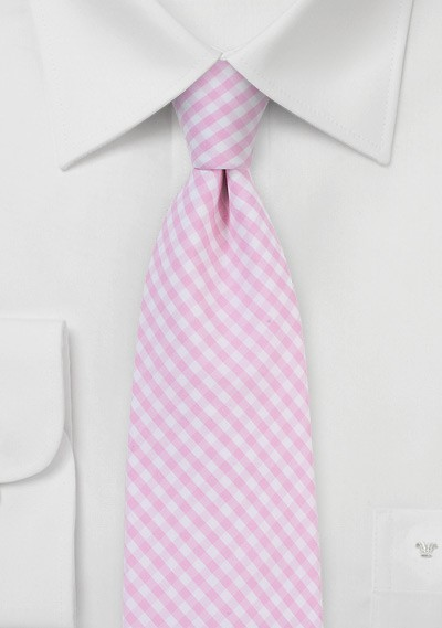 Tea Rose Pink Gingham Tie