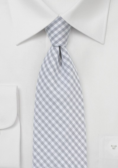 Silver and White Micro Plaid Necktie