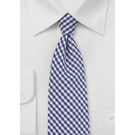 Cotton Micro Plaid Tie in Navy and White