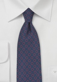 Circle Pattern Necktie in Navy and Red
