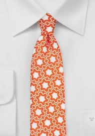 Retro Print Silk Tie in Vintage Orange and White