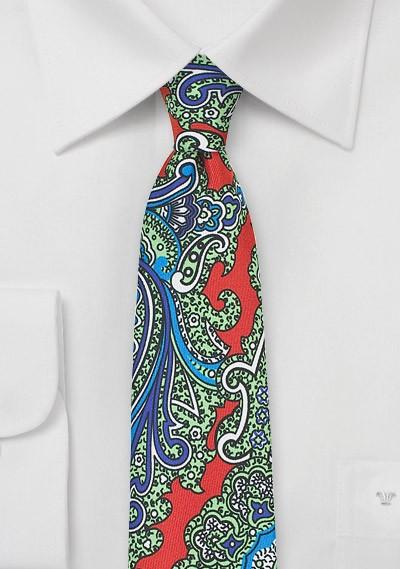 Colorful Skinny Paisley Silk Tie in Orange, Green, Blue