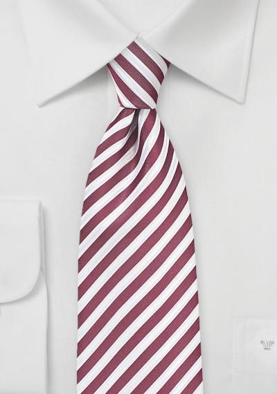 Striped Necktie in Claret Red