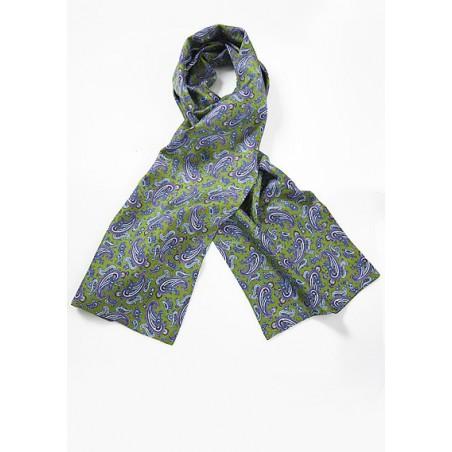 Elegant Green and Blue Paisley Silk Scarf