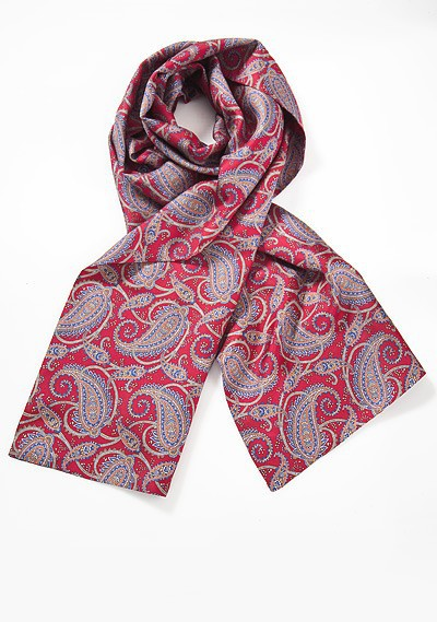 Mens Silk Scarf with Indian Paisley Print