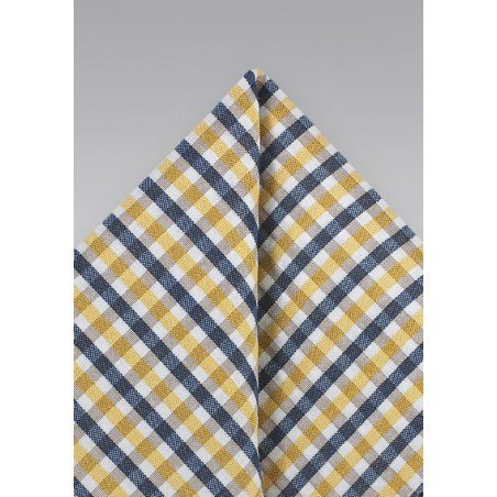 Gingham Seersucker Pocket Square in Yellow and Blue