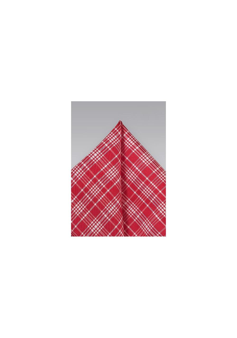 Bold Red Plaid Pocket Square