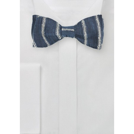 Linen Self Tie Bow Tie in Indigo