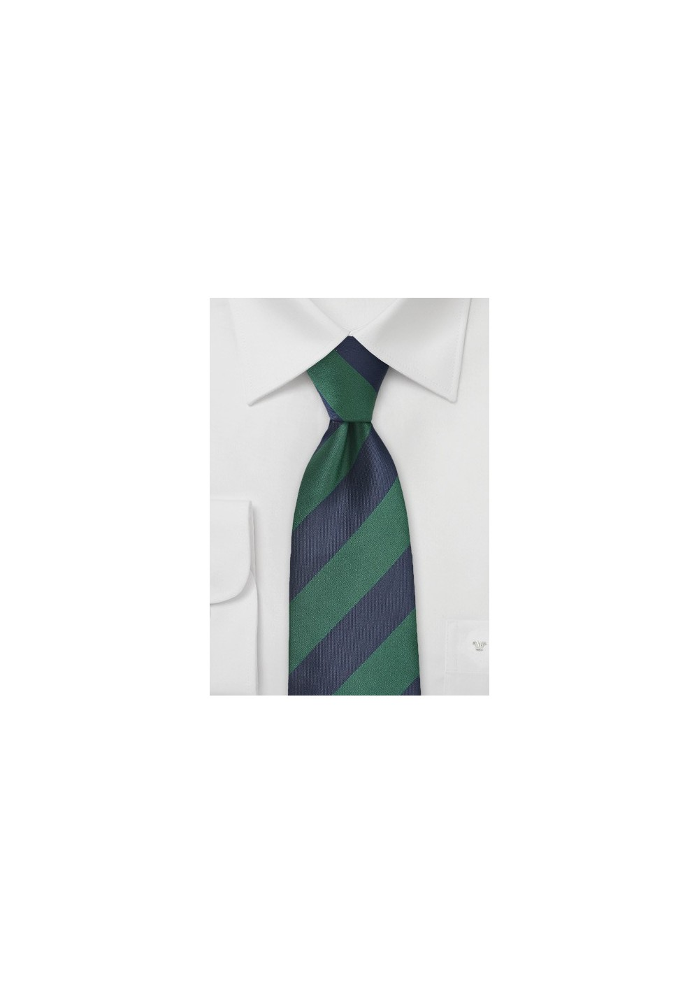 Wide Striped Tie in Hunter Green and Midnight Blue
