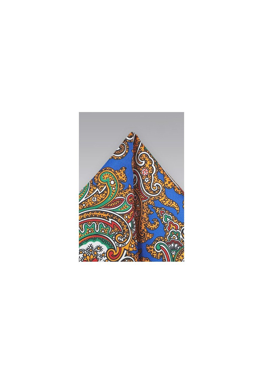 Spanish Paisley Pocket Sqaure in Blue, Green, Yellow, Orange