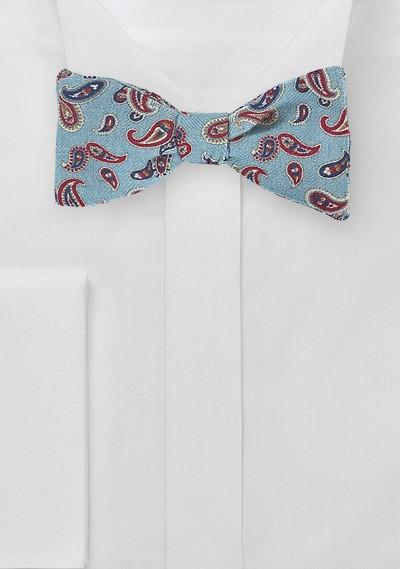 Elegant Wool Bow Tie in Light Blue