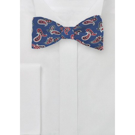 Navy and Red Wool Bow Tie