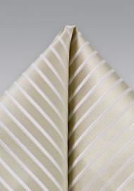Champagne Hued Striped Silk Pocket Square