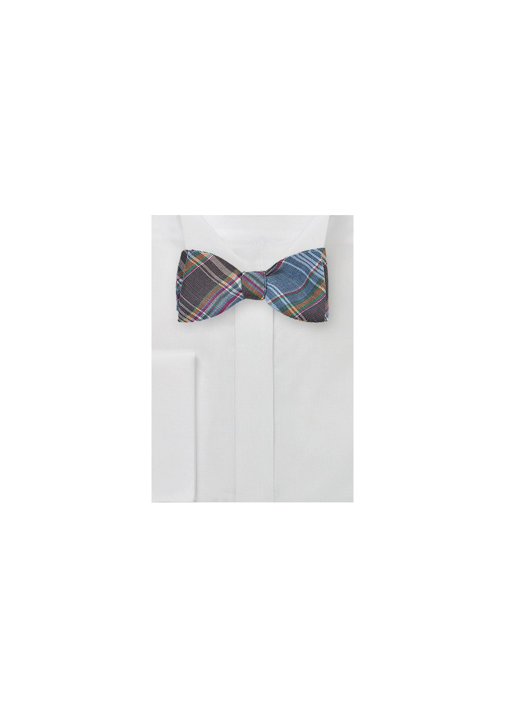 Autumn Madras Bow Bow Tie in Brown and Blue