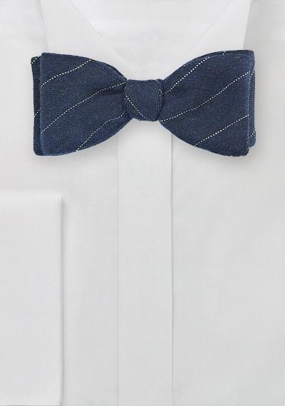 Blue Wool Bow Tie with Narrow Stripe
