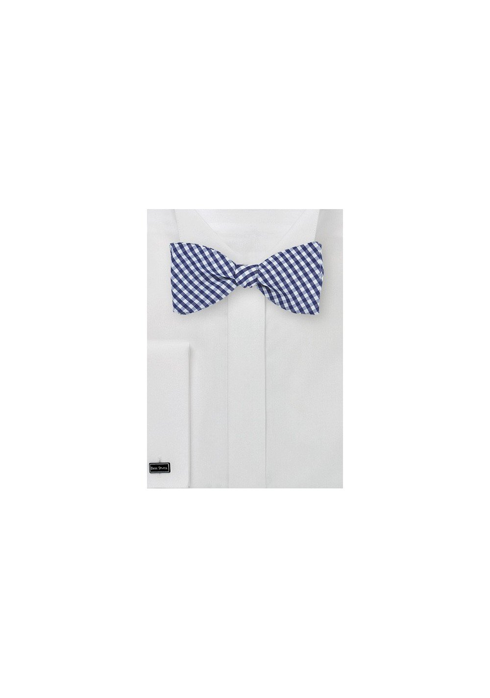 Navy and White Gingham Bow Tie