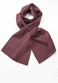 Vintage Design Silk Scarf in Burgundy