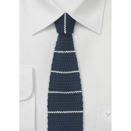 Knitted Cotton Tie in Navy with White Stripes