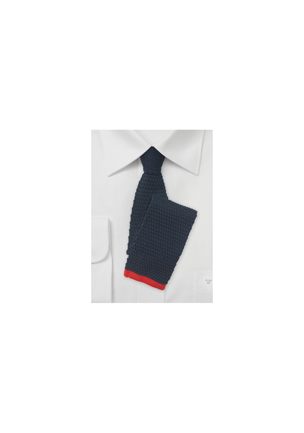 Navy Blue Knit Tie with Red Tip