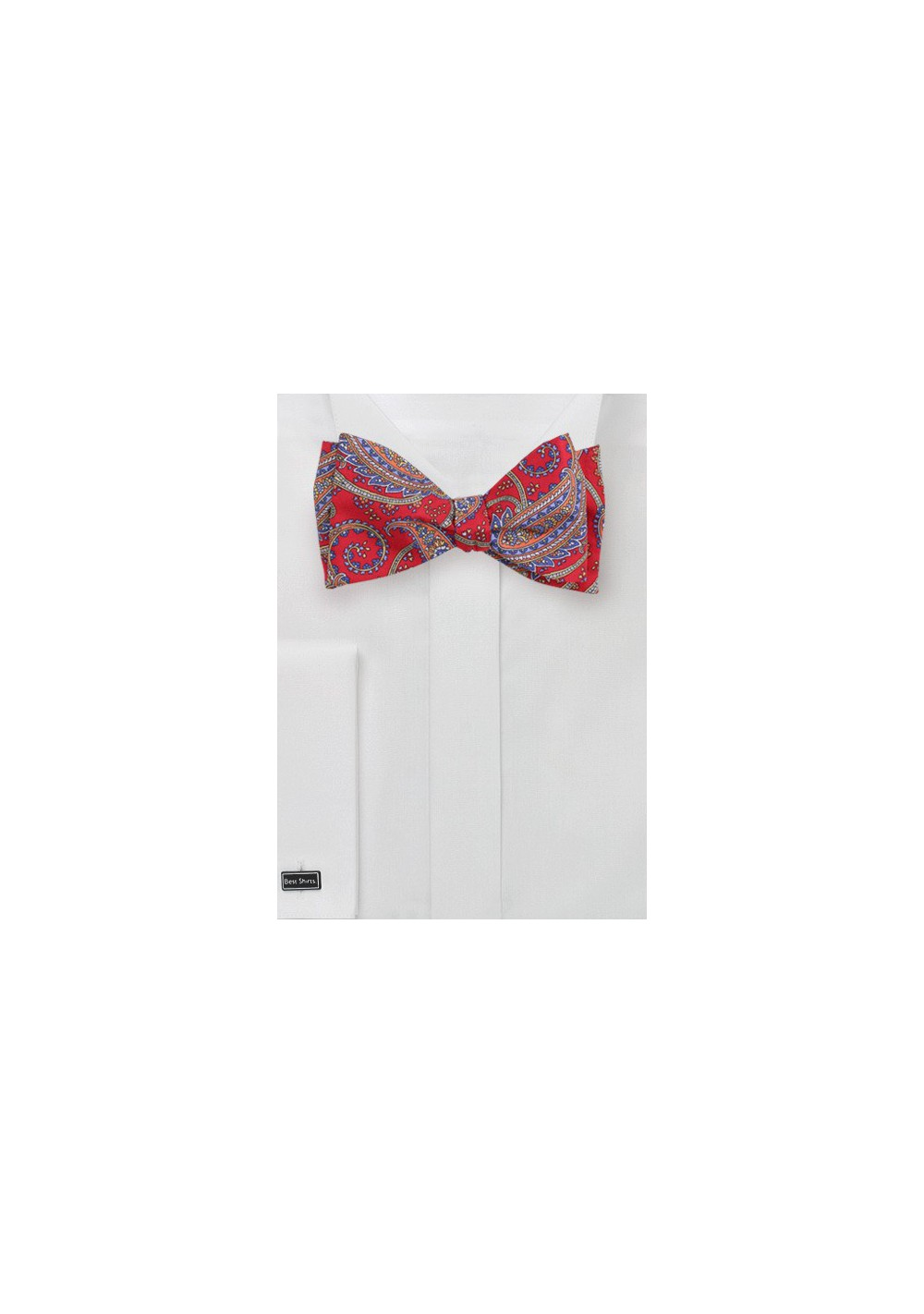 Classic Paisley Bow Tie in Red
