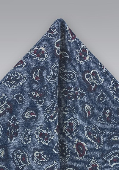 Blue Wool Pocket Square with Paisleys