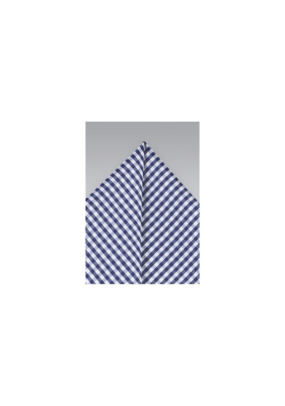 Cotton Gingham Pocket Square in Navy