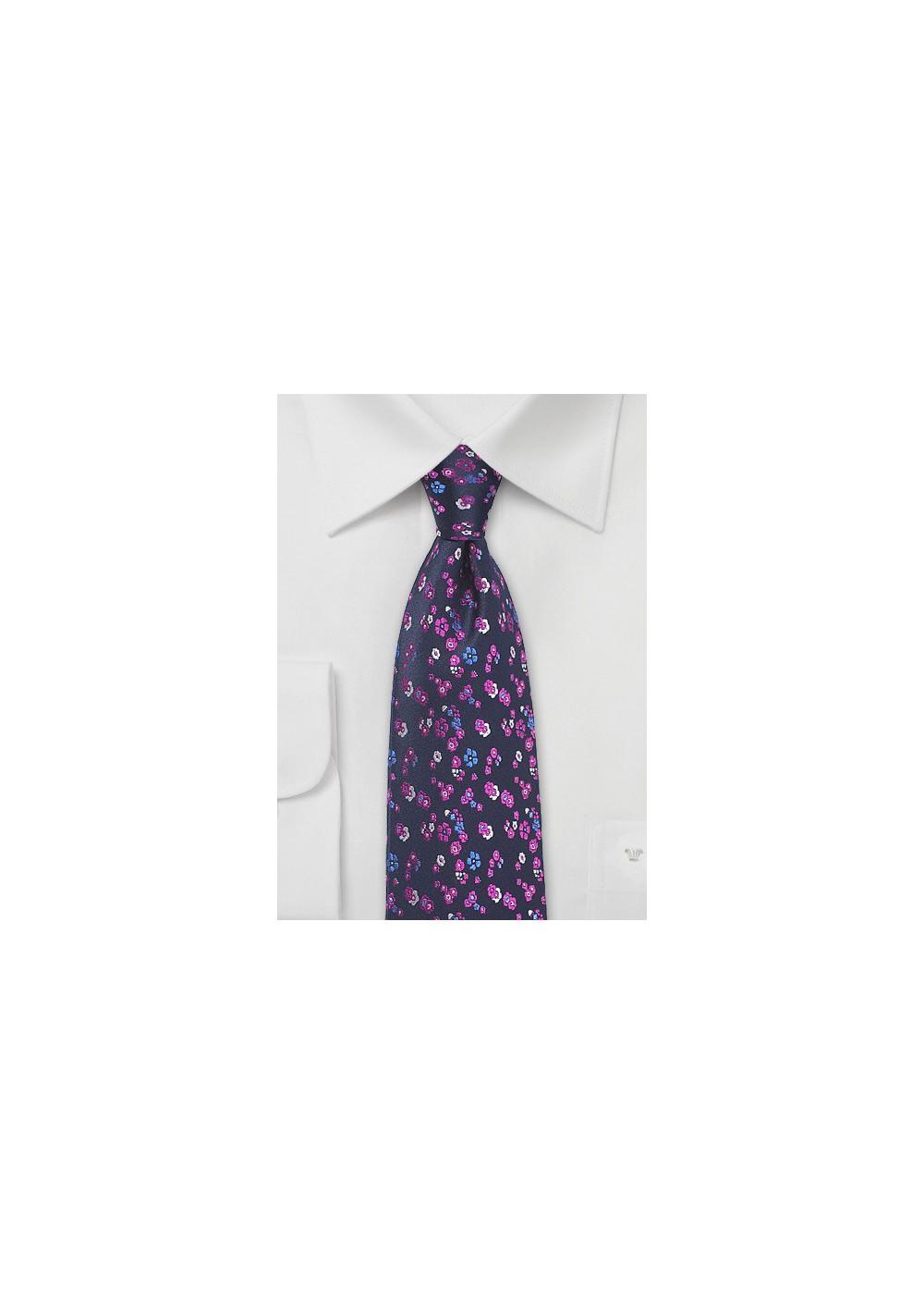 Floral Silk Tie in Purple