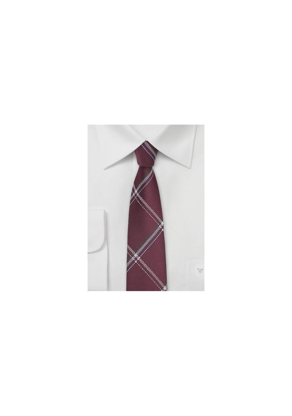 Plaid Silk Tie in Pomegranate Red