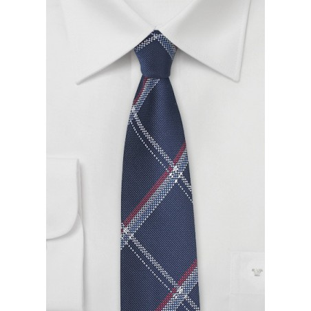 Royal Blue Skinny Tie with Red and Silver Plaid