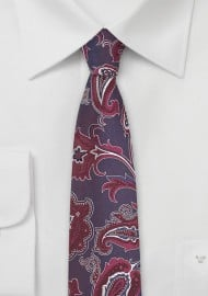 Modern Paisley Silk Tie in Wine Red