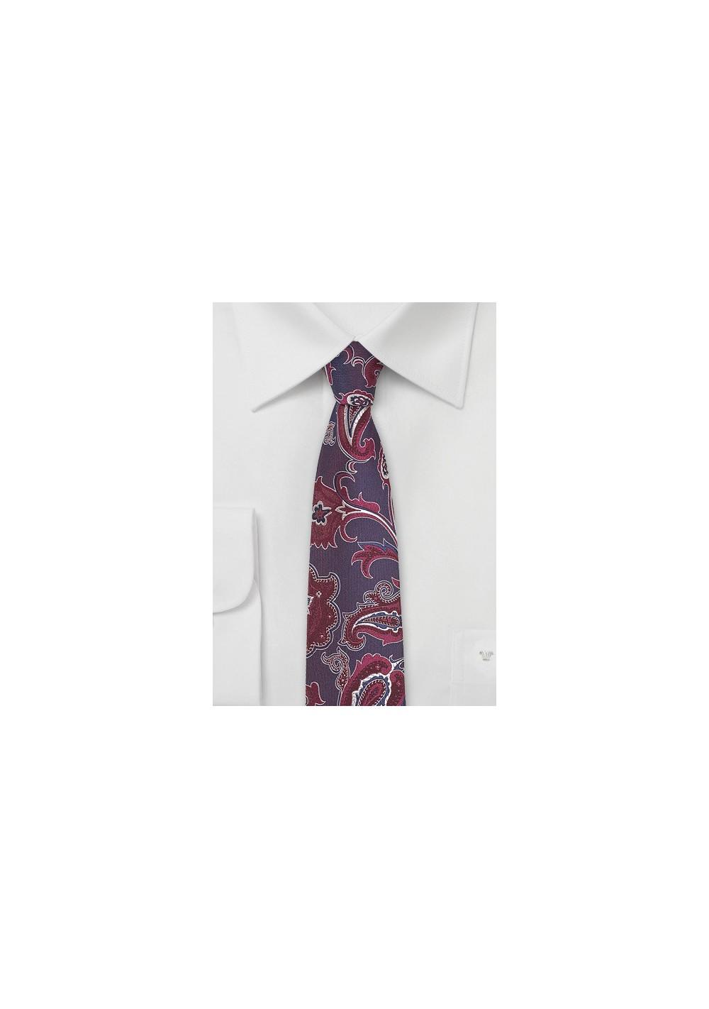 Modern Paisley Silk Tie in Wine Red