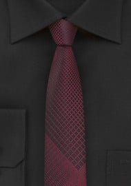 Trendy Skinny Plaid Tie in Black and Rosewood