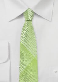 Daiquiri Green Skinny Tie with Plaids