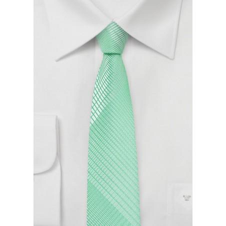 Skinny Plaid Tie in Bright Mint