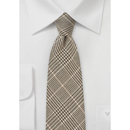 Glen Check Wool Tie in Brown