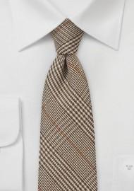 Dark Brown Wool Tie with Glen Checks