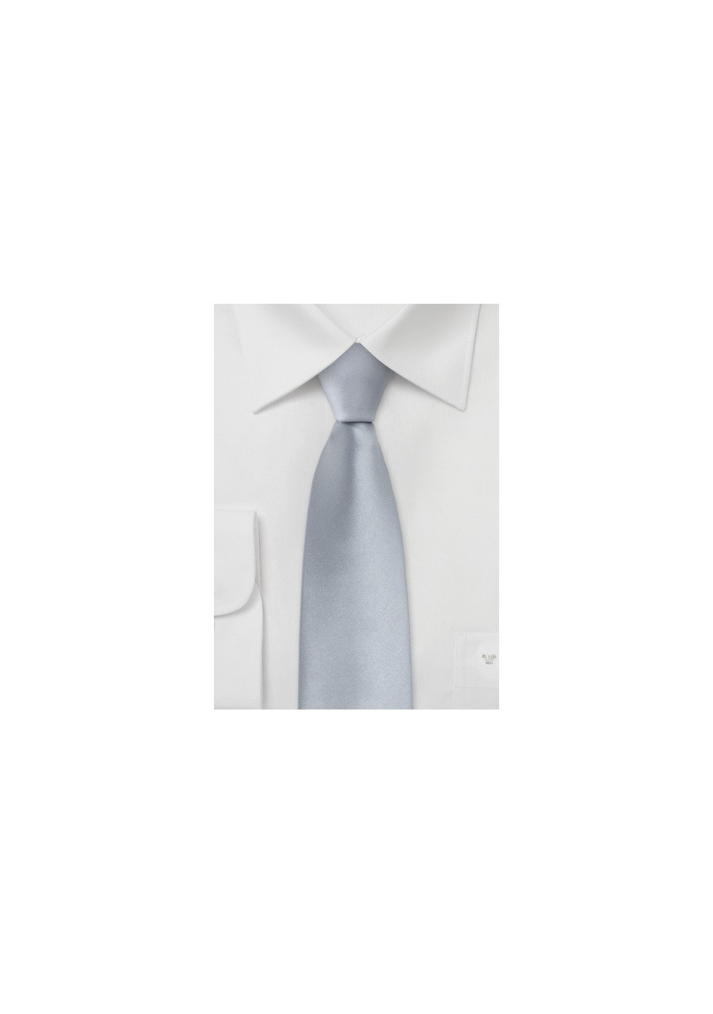 Silver Skinny Necktie