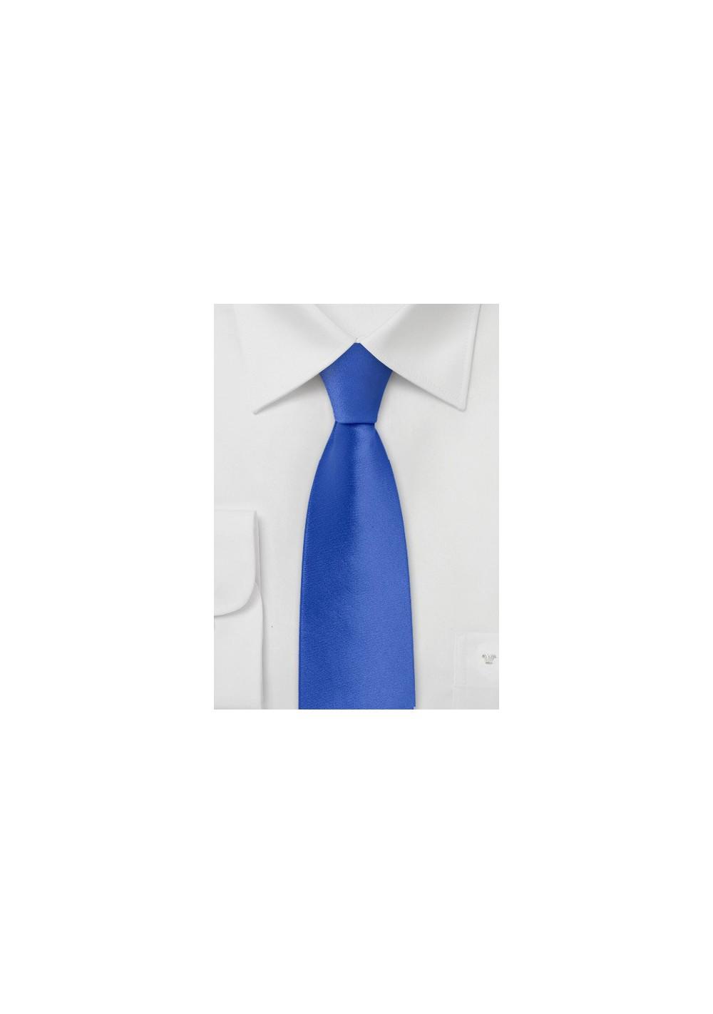 Skinny Necktie in Bright Azure Blue