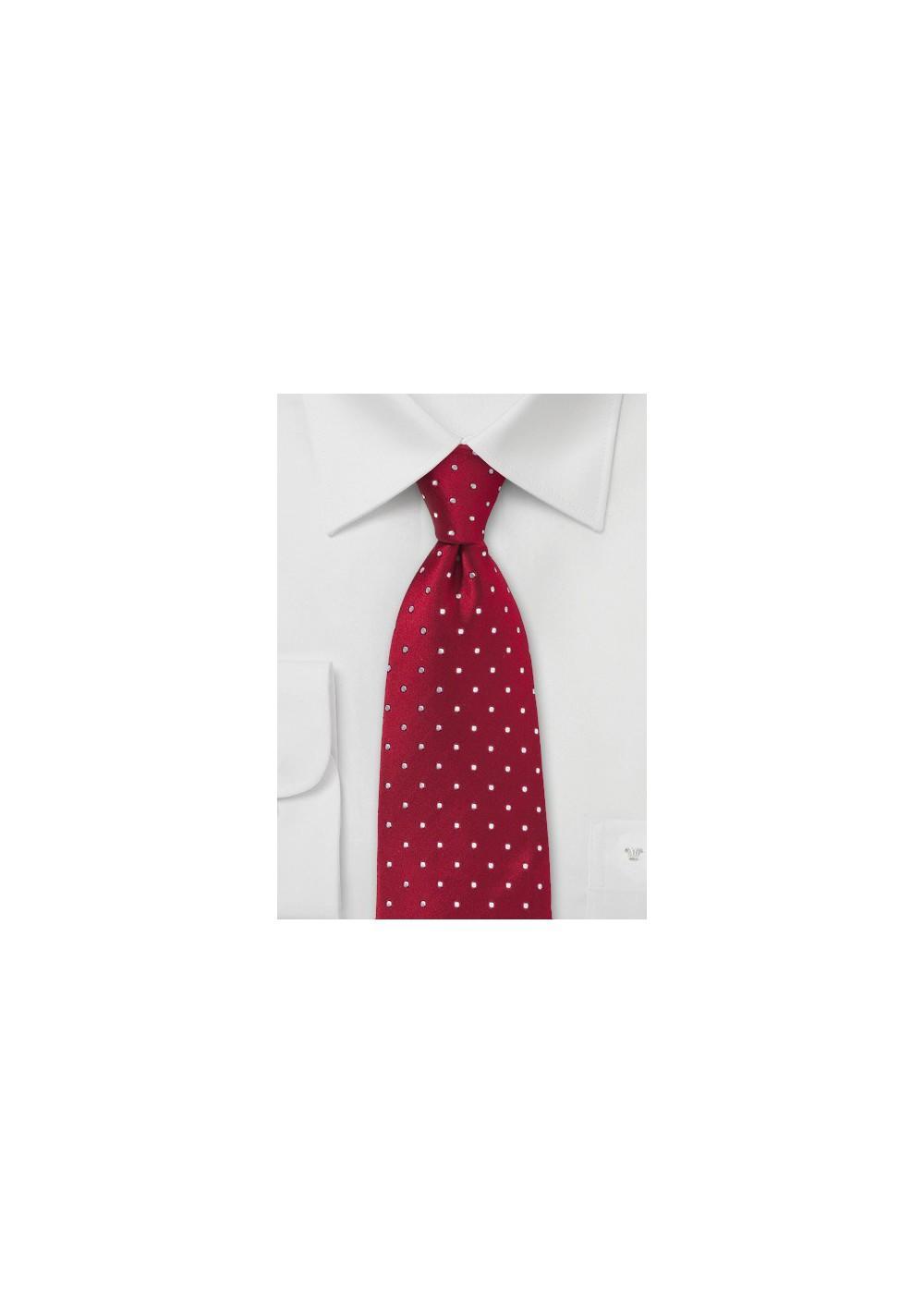 Kids Polka Dot Tie in Cherry Red